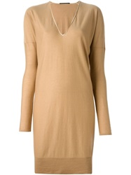 Agnona V Neck Sweater Dress Nude And Neutrals