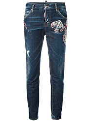 Dsquared2 Cool Girl Embroidered Jeans Blue