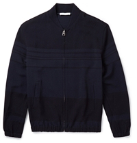 J.W.Anderson Striped Crepe Bomber Jacket Blue