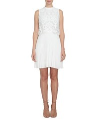 Cynthia Steffe Lace Popover Knife Pleated Dress New Ivory