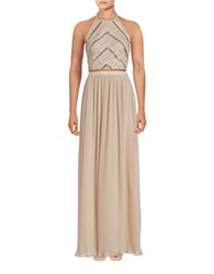 Aidan Aidan Mattox Two Piece Beaded Halter Top And Pleated Maxi Skirt Champagne