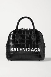 Balenciaga Ville Xxs Aj Printed Croc Effect Leather Tote Black