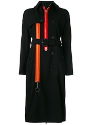 Givenchy Zip Detail Trench Coat Polyamide Polyester Spandex Elastane Wool Black