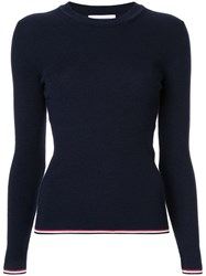 Thom Browne Rwb Stripe Crew Neck Sweater Blue