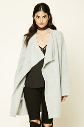 Forever 21 Longline Drape Front Cardigan Heather Grey