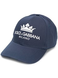 Dolce And Gabbana Contrast Logo Baseball Cap Blue