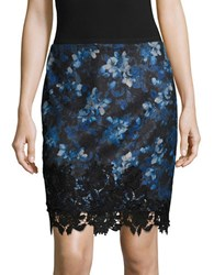 T Tahari Floral Print Pencil Skirt Navy