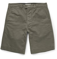 Officine Generale Fisherman Cotton Twill Shorts Army Green