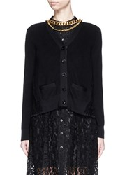 Sacai Floral Lace Back Cotton Cardigan Black