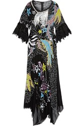 Preen By Thornton Bregazzi Appolina Oversized Lace Trimmed Embellished Silk Chiffon Gown Black