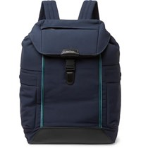 Paul Smith Leather Trimmed Canvas Backpack Navy