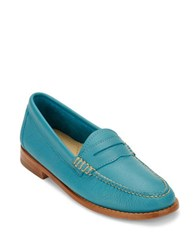 G.H. Bass Whitney Leather Penny Loafers Teal Blue
