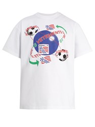 Vetements Football Print Cotton T Shirt White Multi