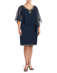 J Kara Plus Embellished Overlay Dress Navy Blk M