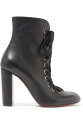 Chloe Lace Up Leather Ankle Boots Black