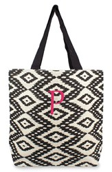 Cathy's Concepts Personalized Ikat Jute Tote Black Black P