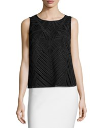 Laundry By Shelli Segal Sleeveless Popover Embroidered Top Black