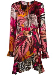 Just Cavalli Asymmetric Tropical Print Dress Pink And Purple