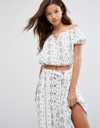 Moon River Printed Crop Top Co Ord Ivory White