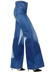 Stella Mccartney Wide Leg Faded Cotton Denim Jeans