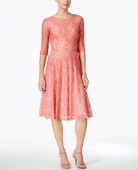 Sangria Lace Fit And Flare Dress Coral
