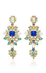Oscar De La Renta Multi Crystal And Pearl C Earrings Blue