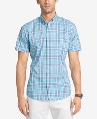 Izod Men's No Iron Plaid Shirt Blue Radiance