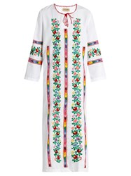 Muzungu Sisters Jasmine Vine Embroidered Cotton Dress White Multi