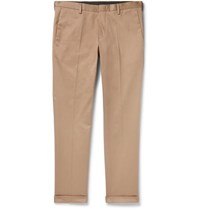 Paul Smith Slim Fit Tapered Cotton Blend Twill Trousers Tan