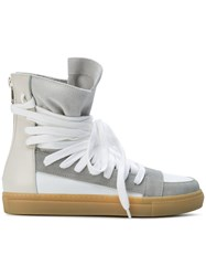 Kris Van Assche Lace Up Hi Top Sneakers Calf Leather Calf Suede Leather Rubber Grey