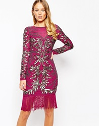 Frock And Frill Long Sleeve Tassel Hem Pencil Dress In All Over Embellishment Berrygunmetal