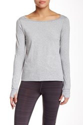 Steve Madden Double Cutout Long Sleeve Tee Gray