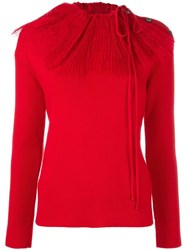 Nina Ricci Removable Pleat Collar Jumper Red