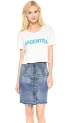Textile Elizabeth And James Cropped Argentina Tee White Light Blue