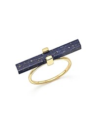 Mateo 14K Yellow Gold Cross Bar Ring With Lapis Blue Gold