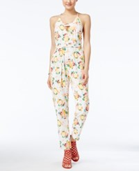 Xoxo Juniors' Printed Cutout Jumpsuit Ivory Multi