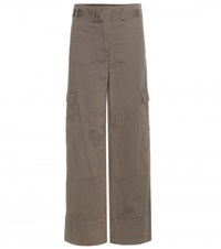 Helmut Lang Wide Leg Cotton And Linen Cargo Trousers Green