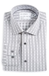 Calibrate Men's Big And Tall Trim Fit Non Iron Plaid Dress Shirt Grey Filigree