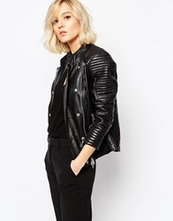 Gestuz Leather Jacket With Studs Black