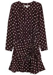 Veronica Beard Lou Lou Polka Dot Silk Chiffon Mini Dress Black