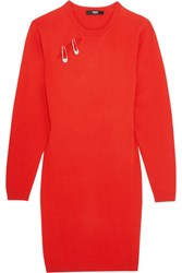Versus By Versace Embellished Stretch Knit Mini Dress Red
