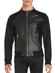 The Kooples Leather Panelled Long Sleeve Jacket Black