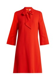 Goat Ginny Neck Tie Wool Crepe Dress Red