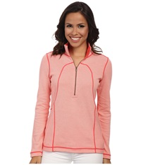 Tommy Bahama Lighthouse 1 2 Zip Top Coral Bluff Bright Coral Women's Sweatshirt Pink