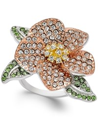 Joan Boyce Tri Tone Green And Clear Pave Flower Ring Silver
