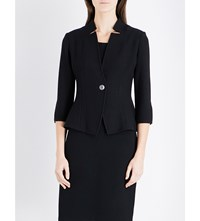 St John Micro Boucle Wool Blend Jacket Caviar