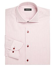 Saks Fifth Avenue Classic Fit Striped Cotton Dress Shirt Pink