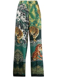 F.R.S For Restless Sleepers Tiger Jungle Print Trousers Green