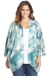 Cj By Cookie Johnson Palm Tree Print Kimono Plus Size Blue Green