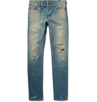 Saint Laurent Skinny Fit 16Cm Hem Distressed Washed Stretch Denim Jeans Light Denim